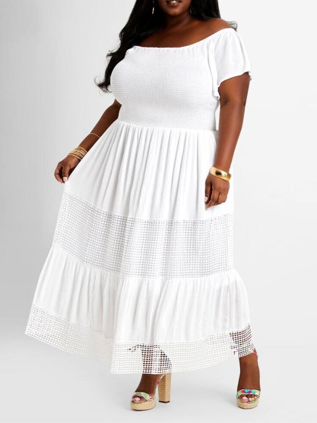 Plus Off Shoulder Lace Stitching Dress