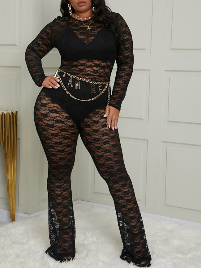Plus Size Lace Sheer Flared Jumpsuit