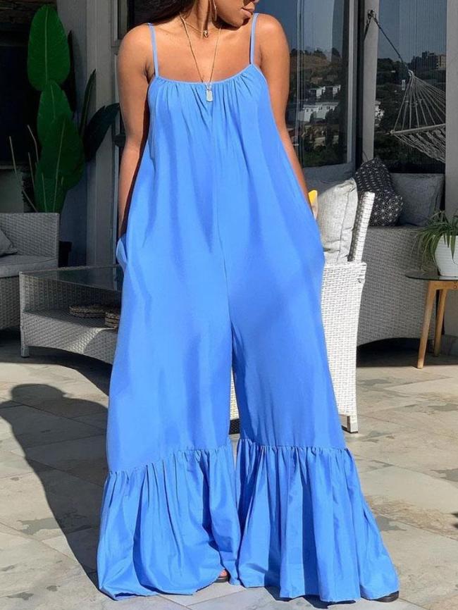 Plus Size Solid color Sling jumpsuit