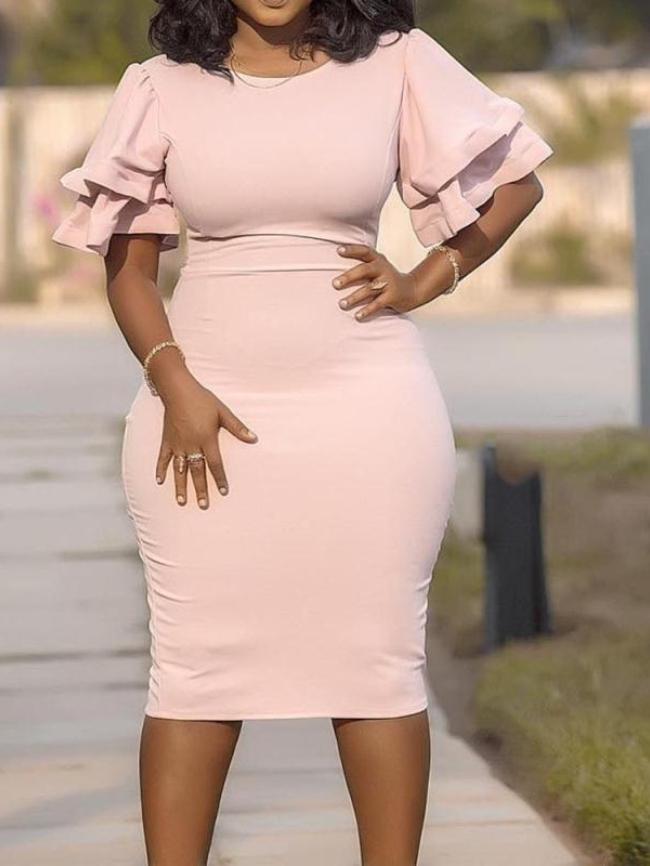 Plus Size Stitching Bodycon Dress