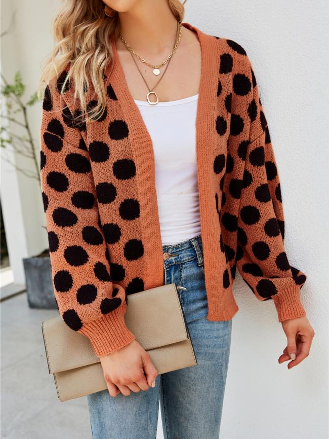 Polka Dot Long Sleeve Knit Cardigan