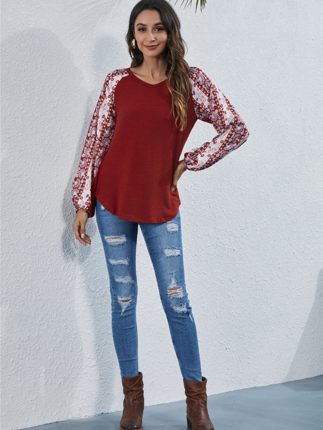 Printed splicing blouse