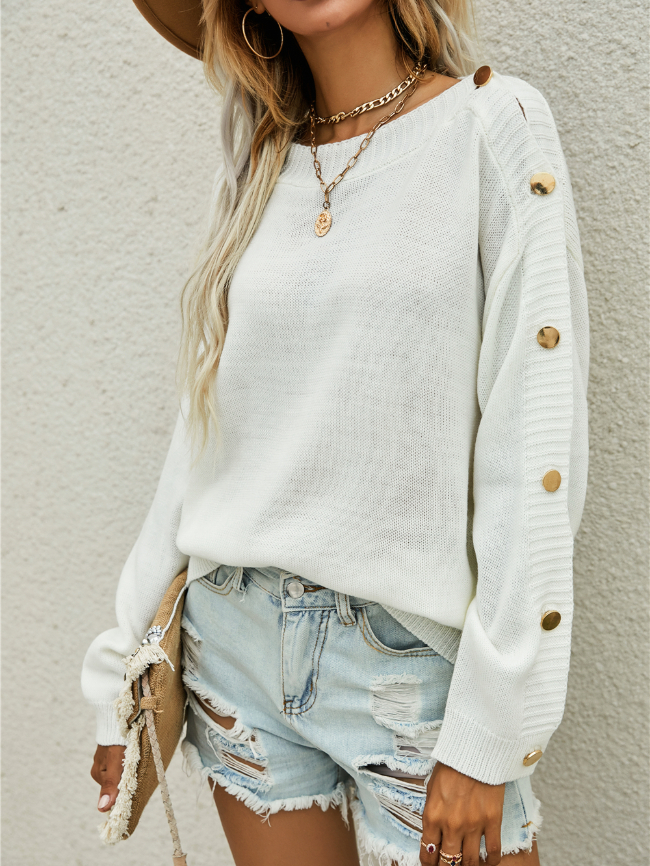 Pullover Button Sleeve Sweater