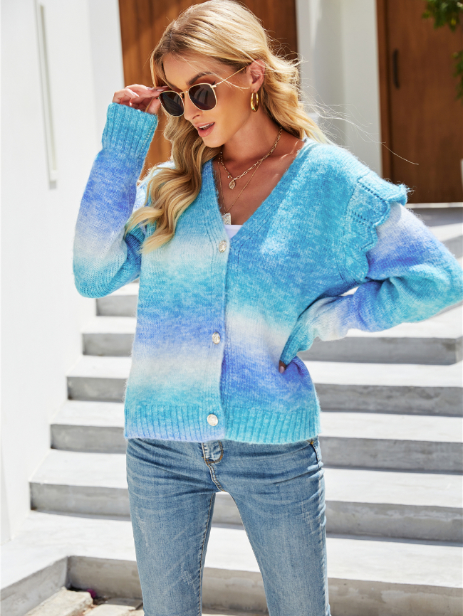 Rainbow Tie-dye Knitted Cardigan