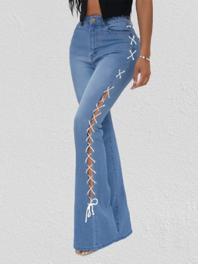 SXY Lace Up Flare Leg Jeans