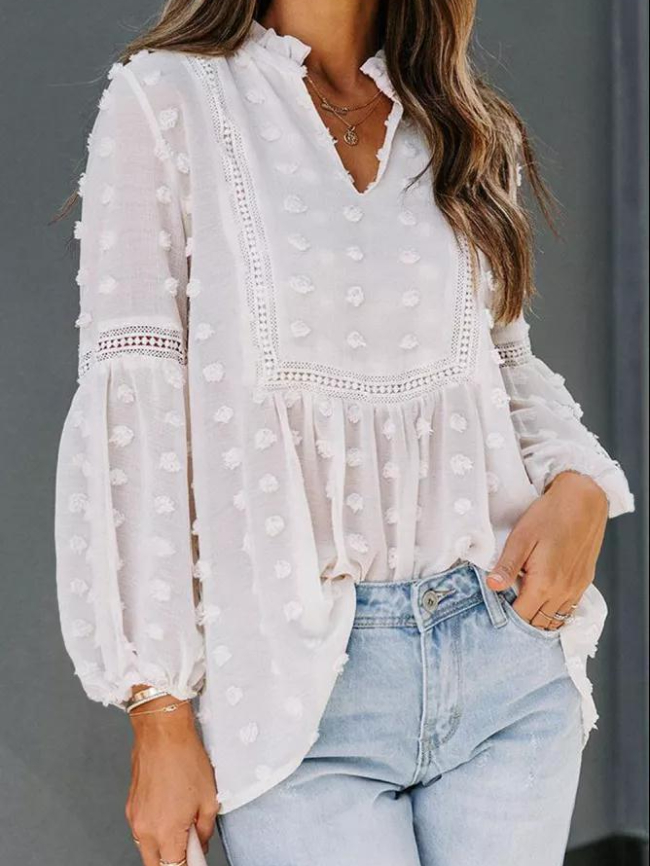 Sheer Long-sleeved Lace Blouse