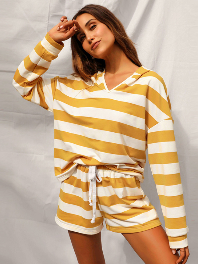 Striped Hooded Shorts Two Piece Set (1)