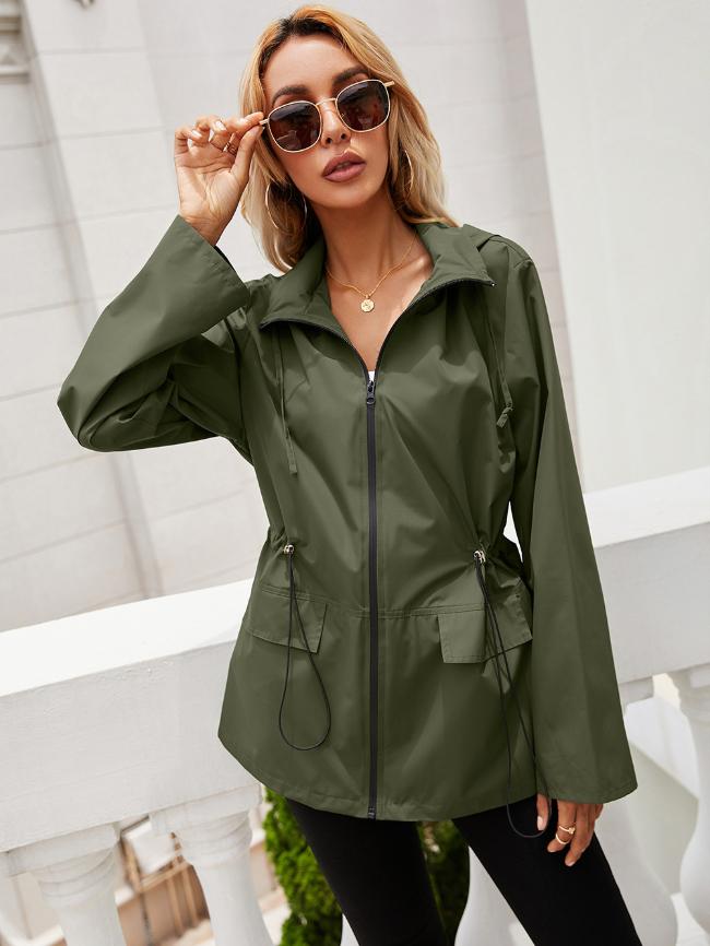 Zip Up Drawstring Windbreaker Jacket