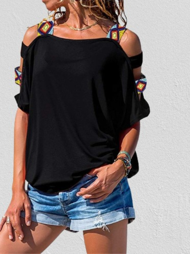 hollow sleeve casual top