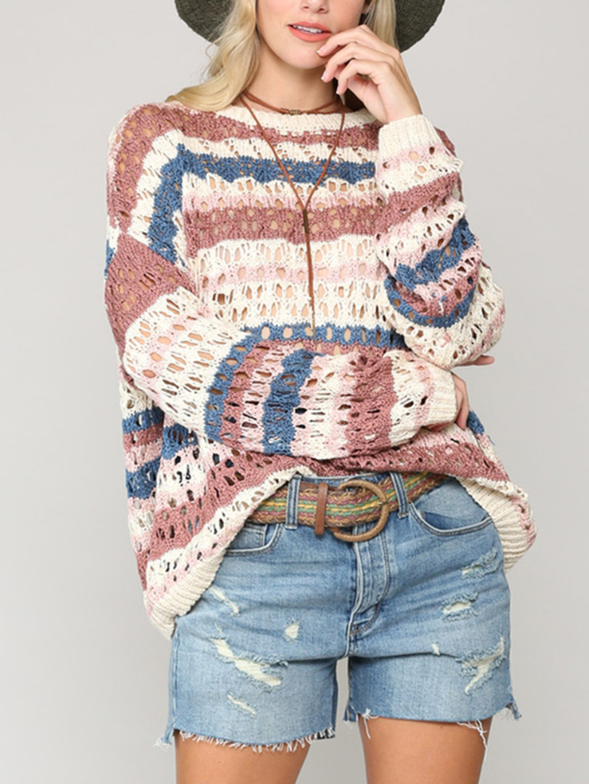 hollow striped sweater