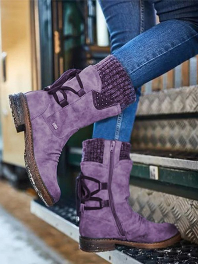 knit splicing boots