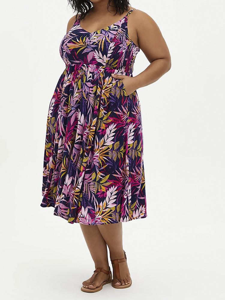 plus printing dress