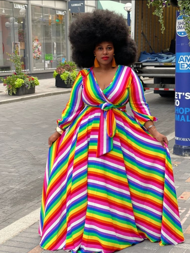 plus rainbow hem maxi dress