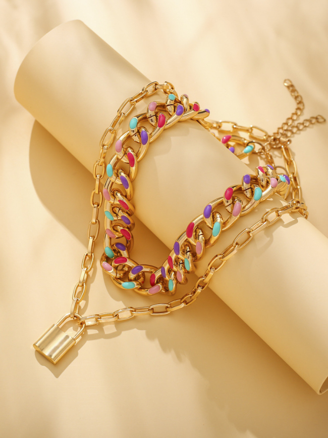 rainbow layere lock necklace