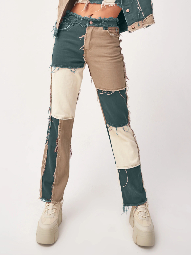 sticthing straight leg jeans
