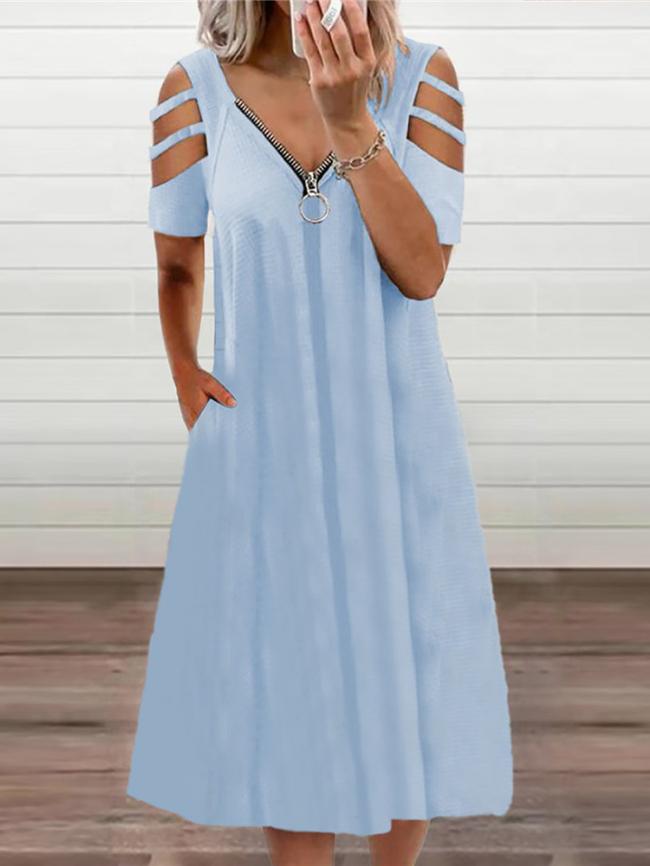zipper decor dress