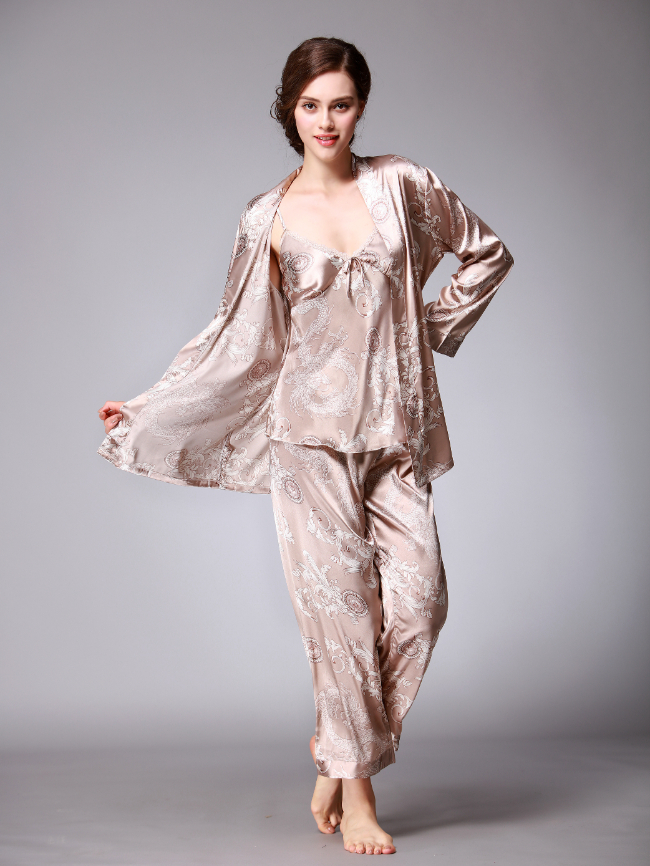 3pcs Printing Satin Pajama Set