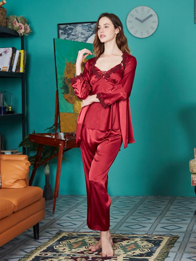 3pcs Solid Lace Cami Pajama Set