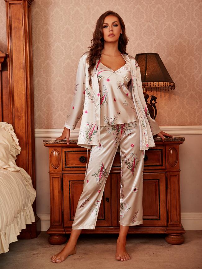 4Pcs Printing Satin Pajama Set