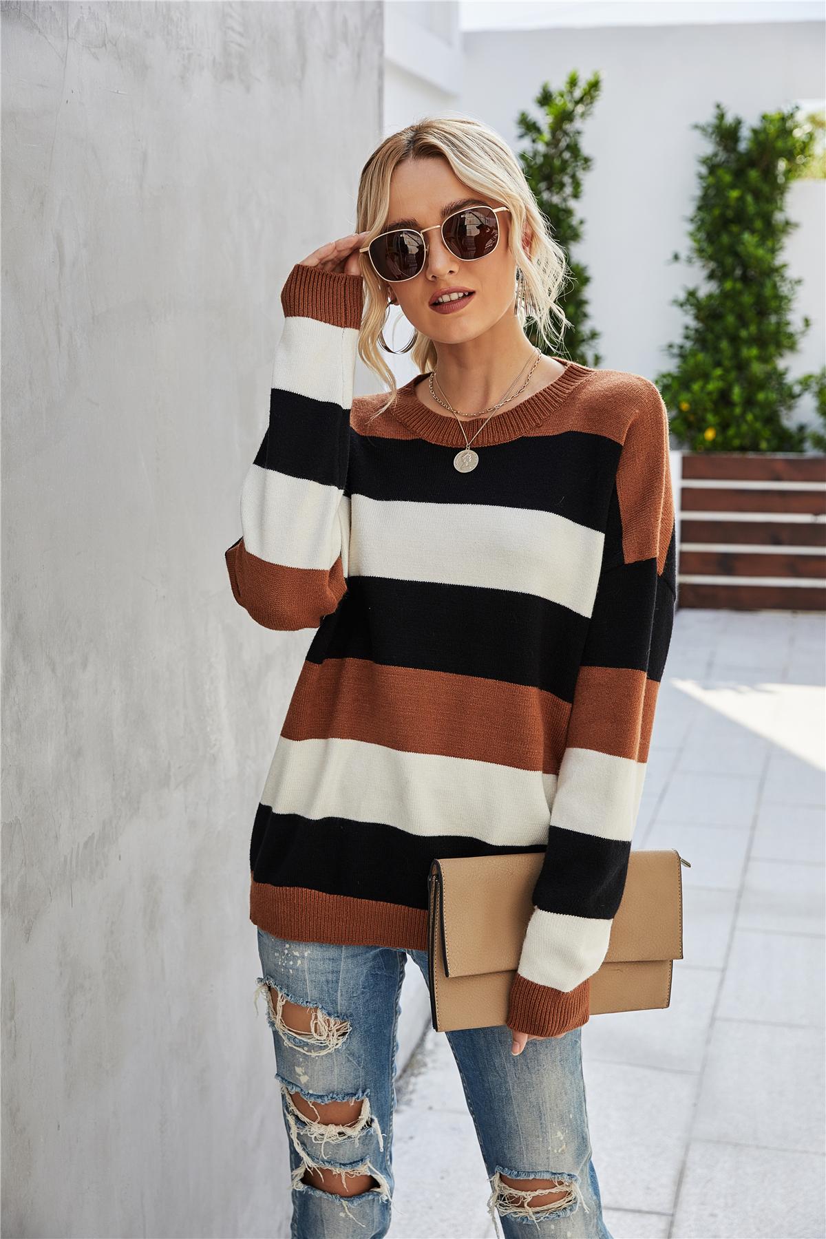 Color-block Drop Shoulder Sweater