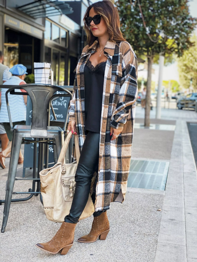 Brown Pocketed Grid Pattern Overcoat