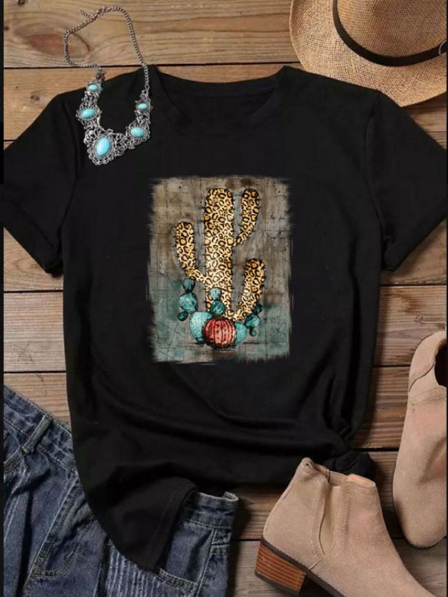 Cactus Color Graphic Print T-shirt