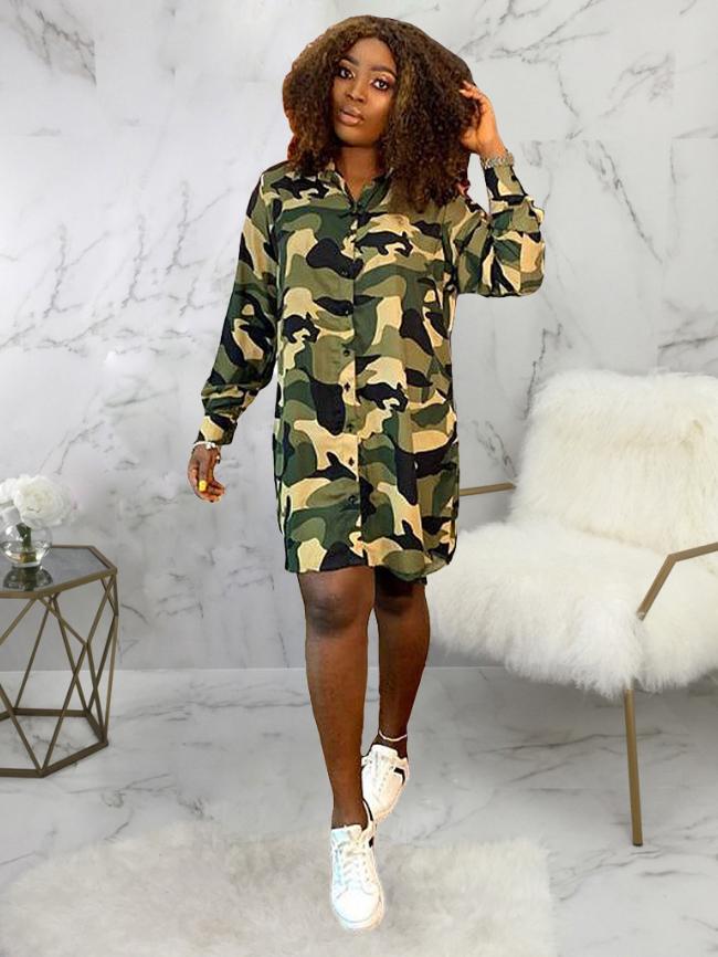Camouflage Botton Front Long Shirt