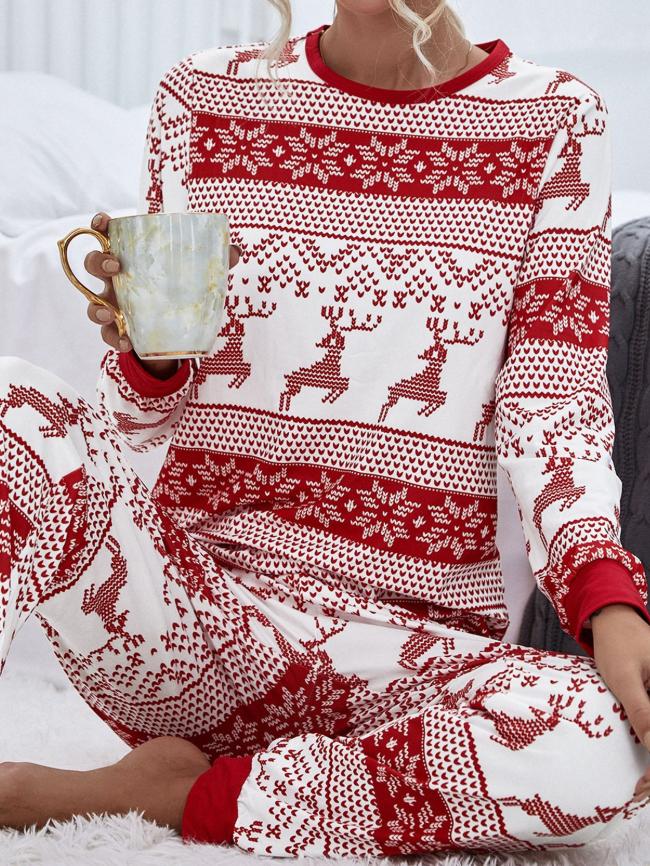 Christmas Print Long Sleeve Tee And Pants Lounge Set
