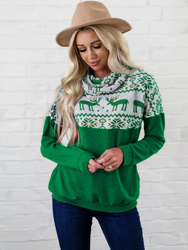 Christmas Print Mock-neck Fleece Sweatshirts