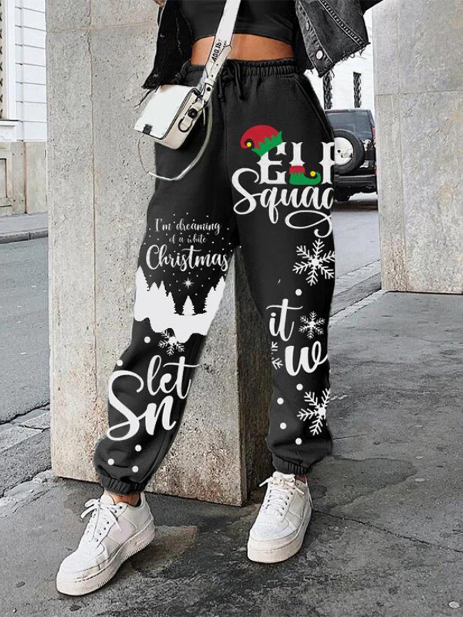 Christmas Print Stitching Sweatpants