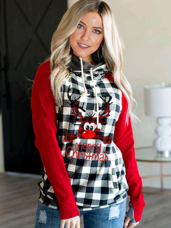 Christmas Elk Plaid Print Hooded Sweatshirt