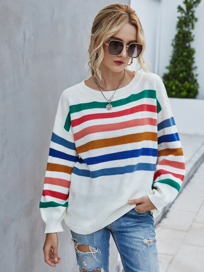 Color Striped Stitching Knit Sweater