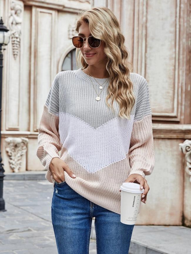 Colorblock Stitching Knit Sweater