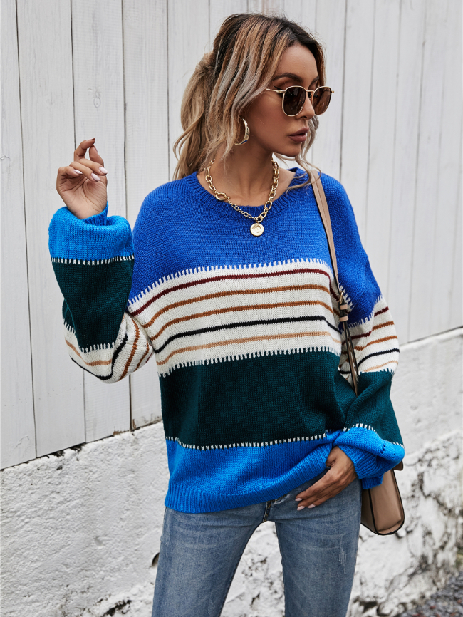 Colorblock Striped Pullover Knit Sweater