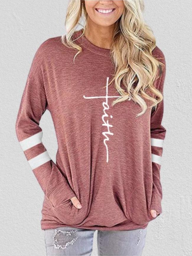 Contrast Pocket Cross Print Sweatshirt
