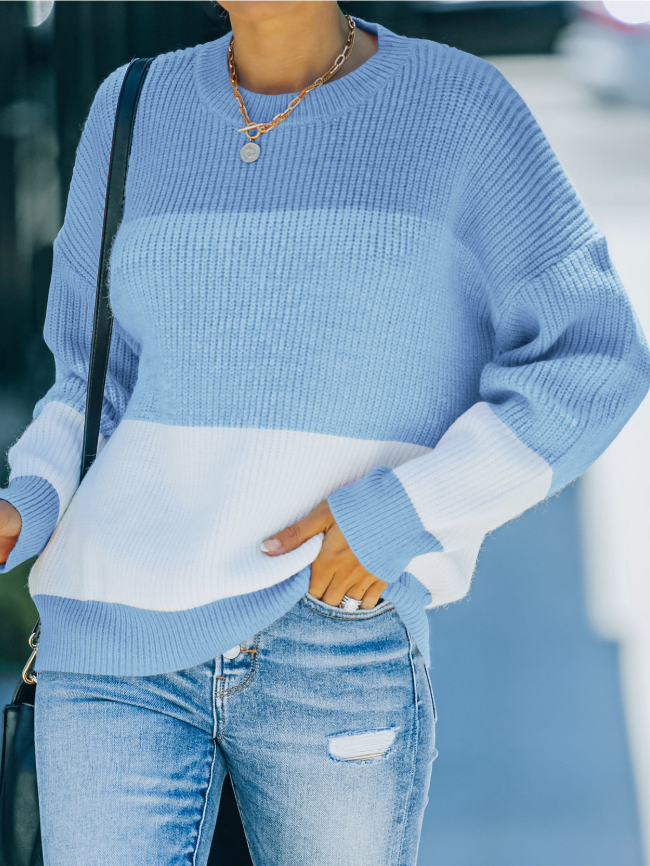 Contrast Pullover Knitted Sweater