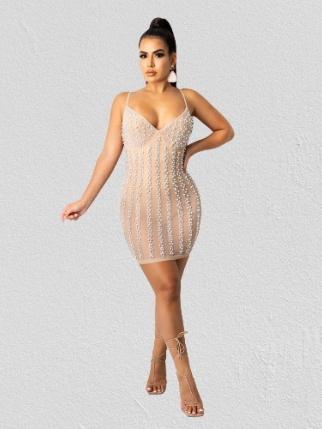 Contrast Sequin Detail Bodycon Dress With Underpants