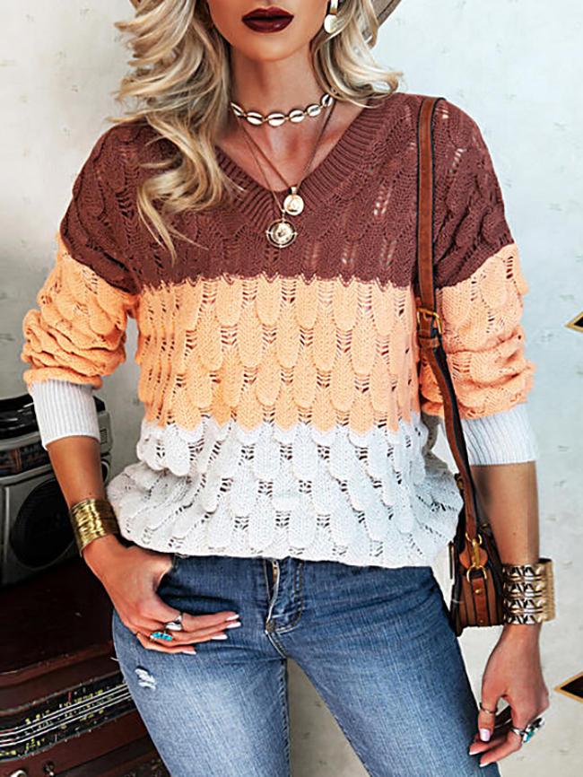 Contrast Stitching V-neck Sweater