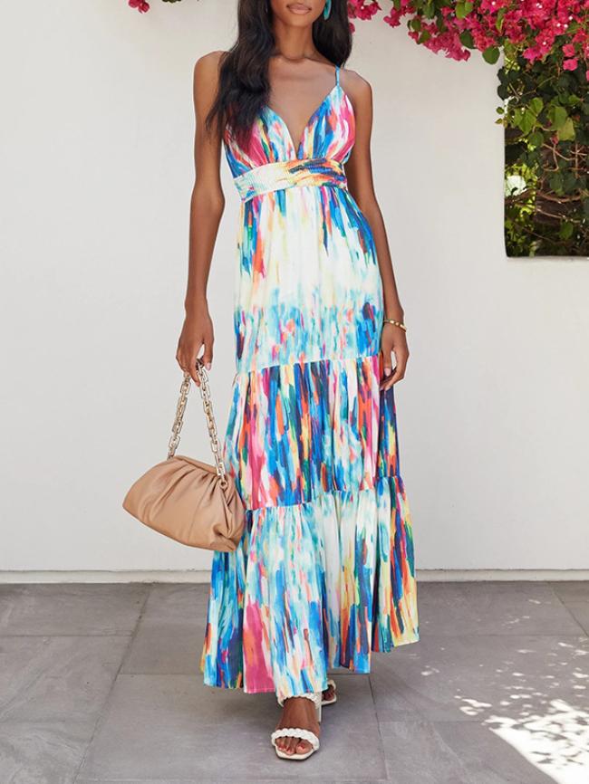 Digital Printing V-neck Cami Dress