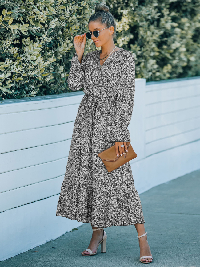 Ditsy Floral Belted Ruffle Hem Dress