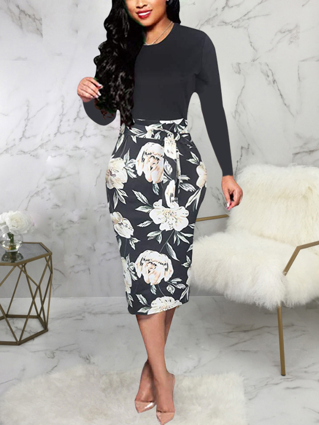 Floral Print Formal Bodycon Dress