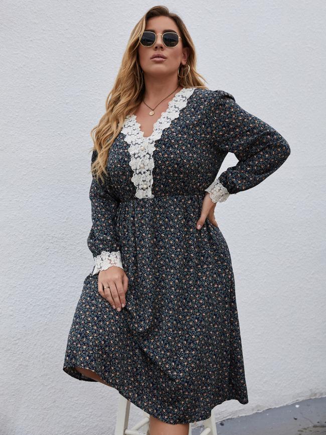 Floral Print Lace Stitching Dress