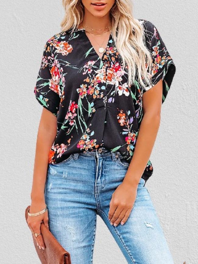 Floral Print V-neck Short-sleeved Blouse