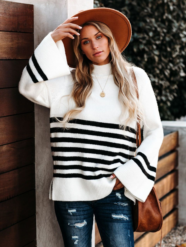 High Neck Ribbed Knit Striped Sweater