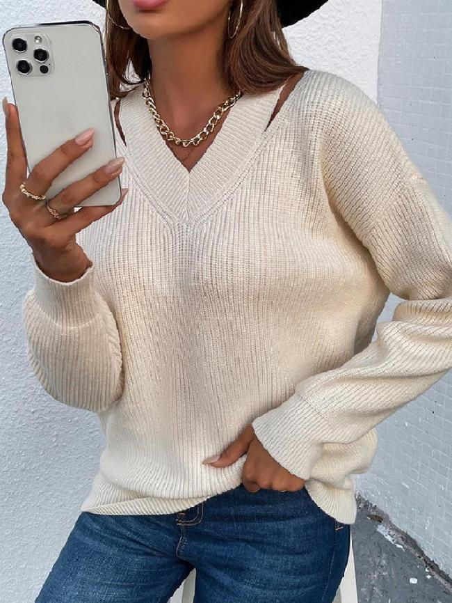Hollow V-neck Solid Drop Shoulder Sweater