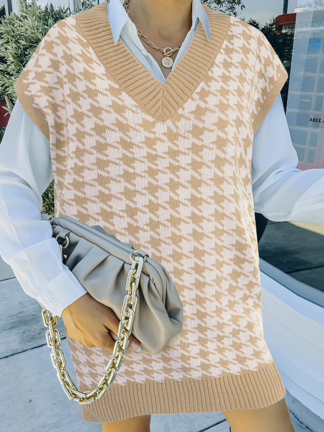 Houndstooth Knitted Sweater Vest