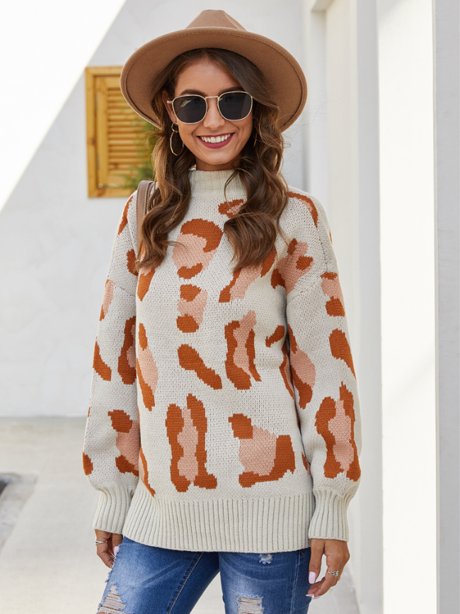 Leopard Print Pullover Knitted Sweater