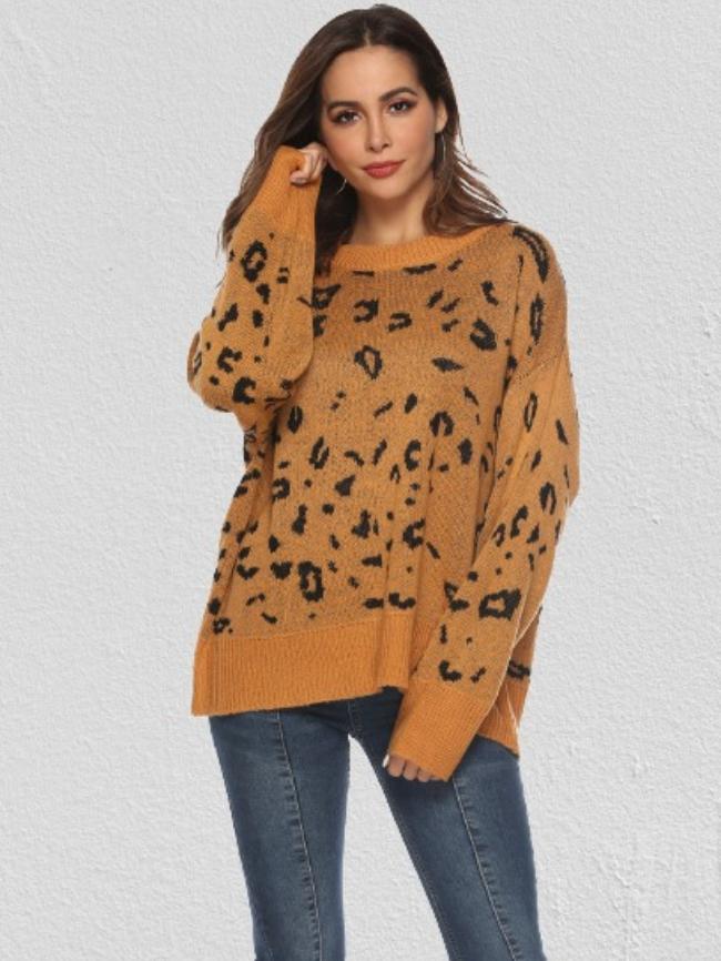 Leopard Print Round Neck Sweater