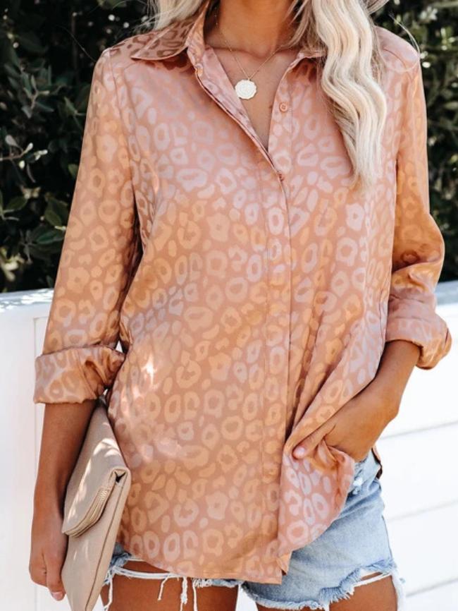 Leopard Print Stand Collar Shirt