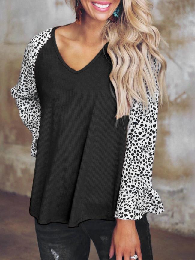 Leopard Print Stitching V-neck Top